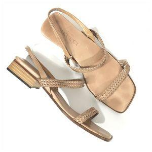 Sesto Meucci Tan Woven Braided Leather Sandals 6.5